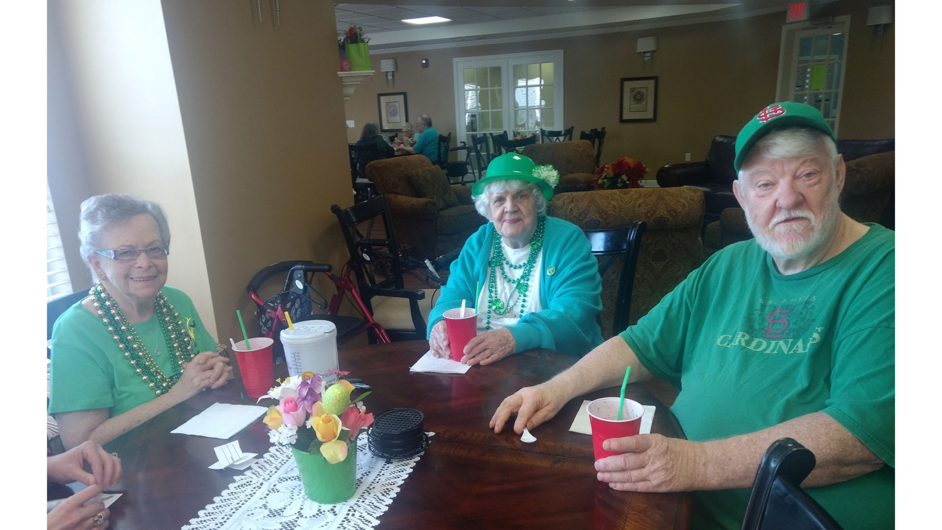 The Wyndham Park Residents Gather In Their St. Patrick's Day Attire For Their Annual Party.